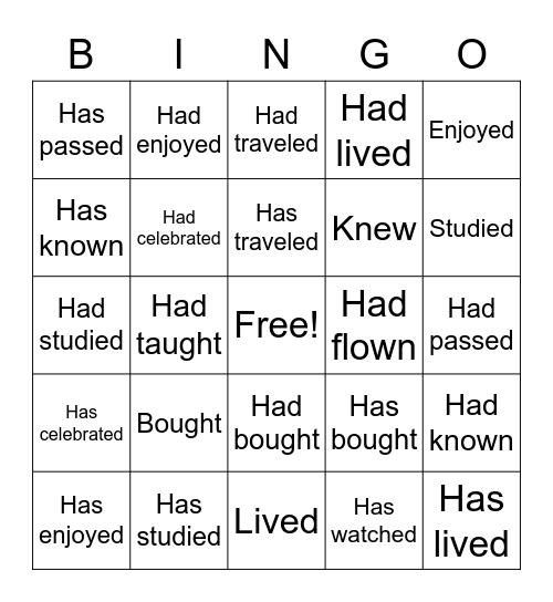 Tense Bingo Card