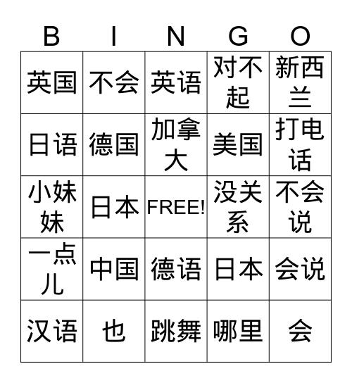 7th  Grade Lesson 8    我会说汉语 Bingo Card