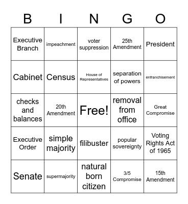 Constitutional Principles Review Bingo Card