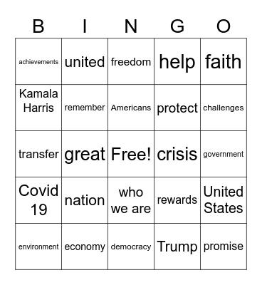 Inauguration Bingo Card