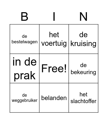 Bingo thema 1 Bingo Card