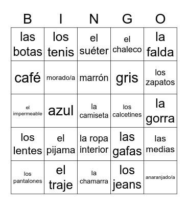 Clothing/Color Vocabulary Bingo Card