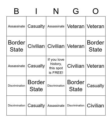 Civil War Bingo Card