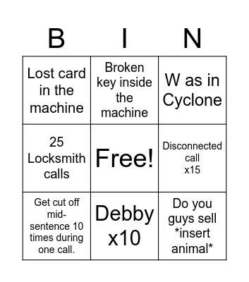 F R Y D A Y Bingo Card