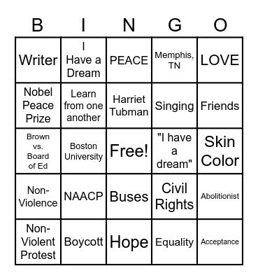 Happy Birthday, Martin Luther King, Jr. Bingo Card