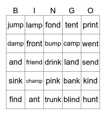 Ending Consonant Clusters Bingo Card