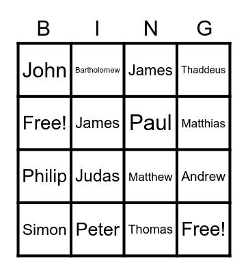 The Disciples Bingo Card