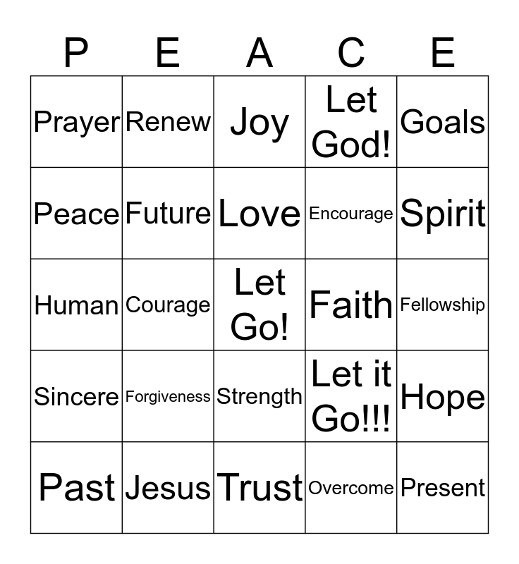 Let it Go!!!!! Bingo Card