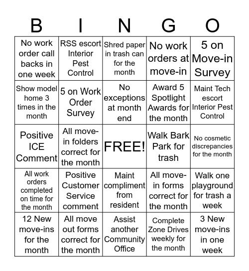 Bowden Terrace Bingo Card