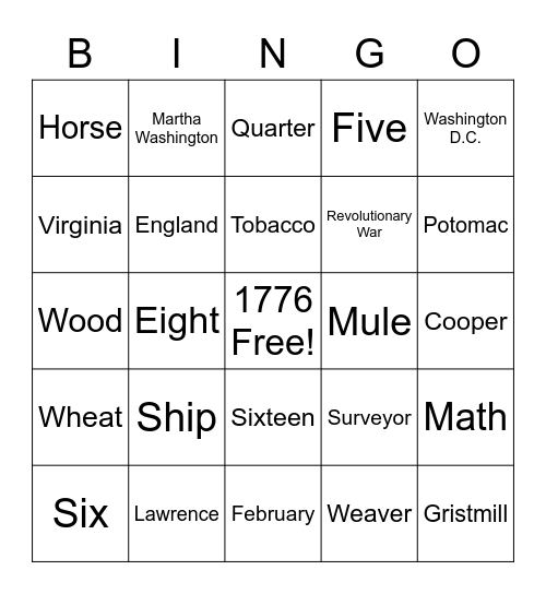 George Washington Bingo Card
