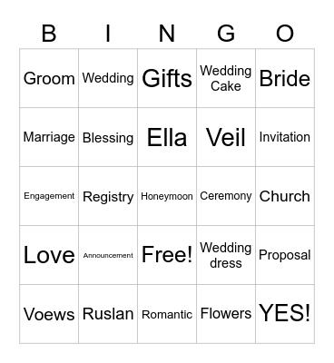 Ella's Bridal Shower Bingo Card