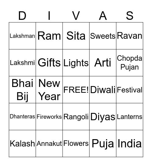 Diwali Party 2012 Bingo Card