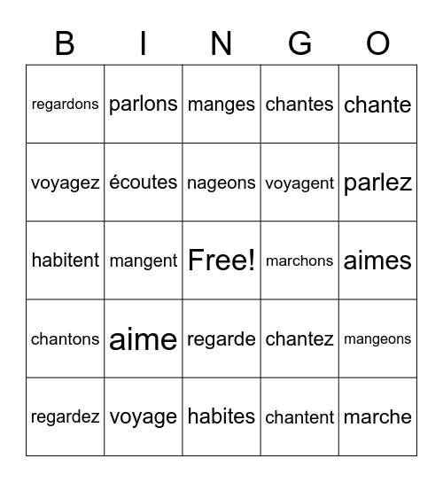 -er verb conjugations Bingo Card