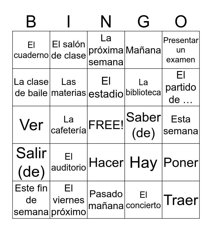 Chapter 4 Vocabulario 2 Bingo Card