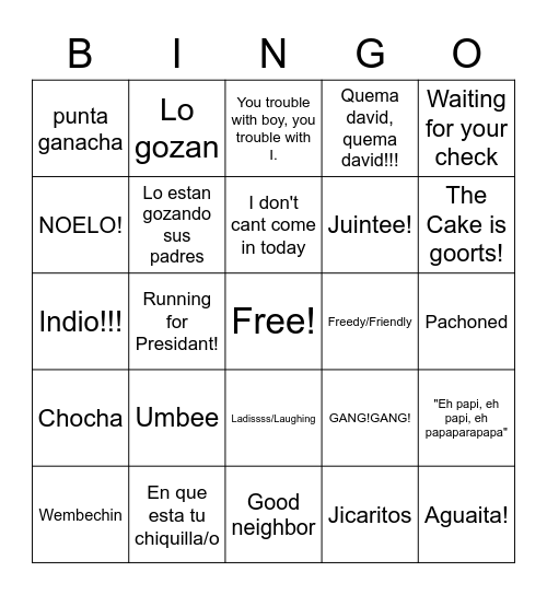 Family Sayings Bingo Card