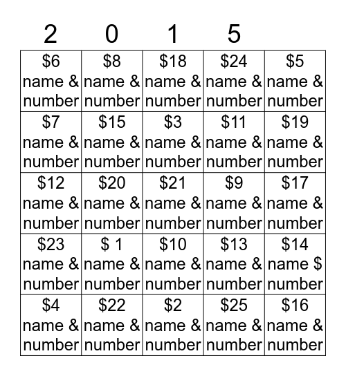 Worthington Kilbourne Softball Bingo Card