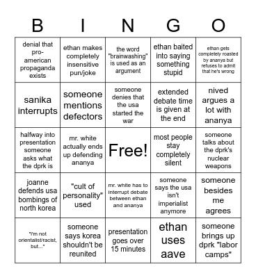 ananya's presentation bingo Card