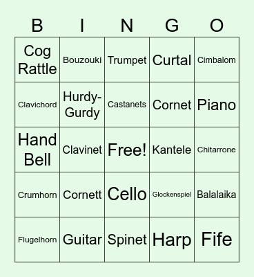 European Instruments Bingo Card