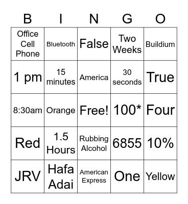 Zephyr CSR Bingo Card