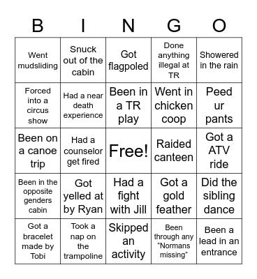 Timber Ridge Bingo Card