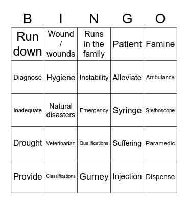 Medical Care Bingo! Bingo Card