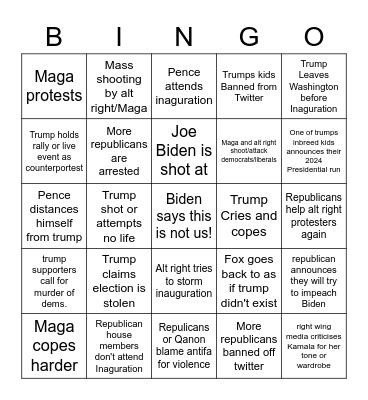 Biden inauguration Bingo Card