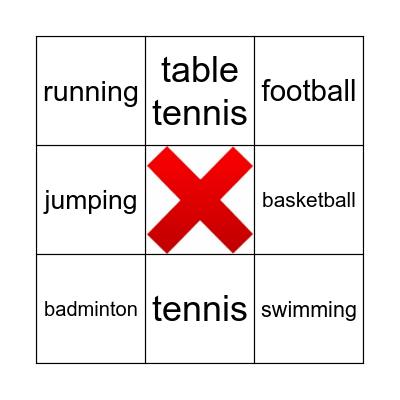 I like playing sports! Bingo Card