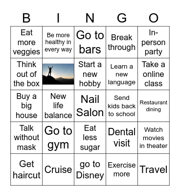 2021 Resolution Bingo Card