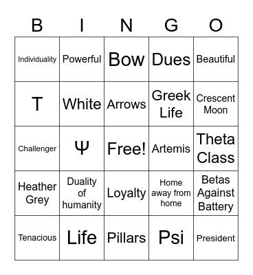 Tau Psi Beta Bingo Card