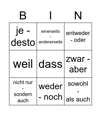 Zweiteilige Konnektoren Bingo Card