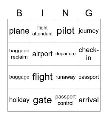 Fly away Bingo Card