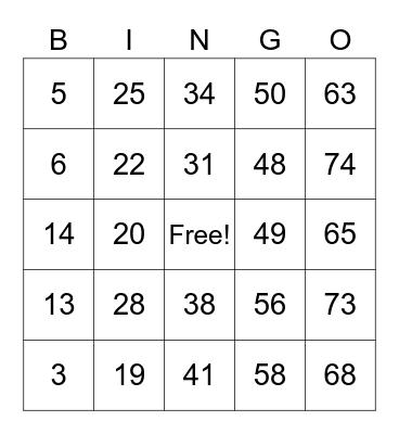 Number Bingo 1-90 Bingo Card
