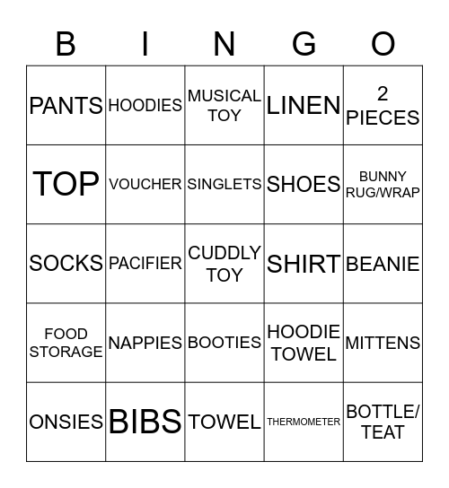 SHAZY'S BABY SHOWER Bingo Card