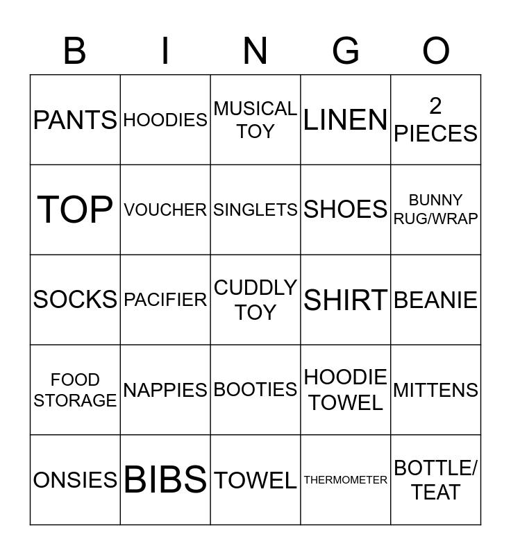 SHAZY'S BABY SHOWER Bingo Card