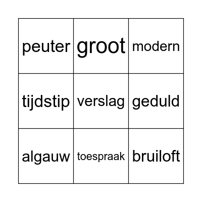 taal thema 4 Bingo Card
