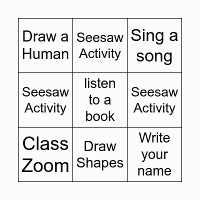 Remote Learning Bingo Card