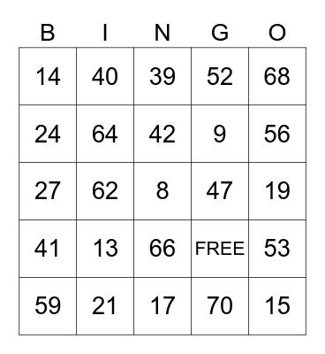 1/1 Game 1 Bingo Card