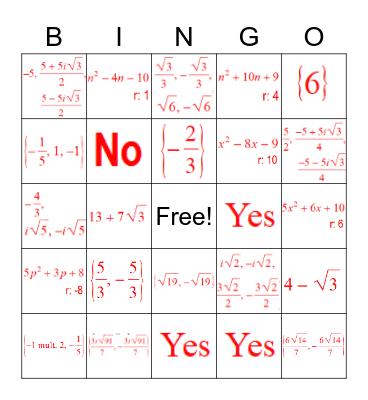 Study Guide #9 Polynomials Bingo Card