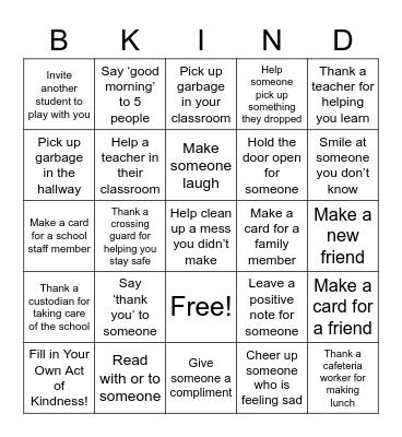 B-Kind Bingo Board Bingo Card