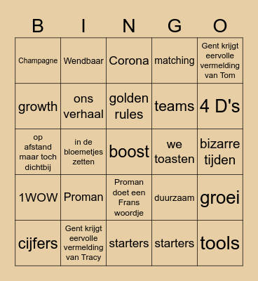 Kick-off 2021 opwarming Bingo Card