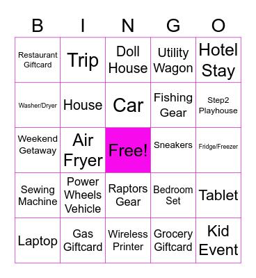Prizes I Want To Win (2021) Bingo Card