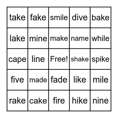 A_E and I_E Words Bingo Card