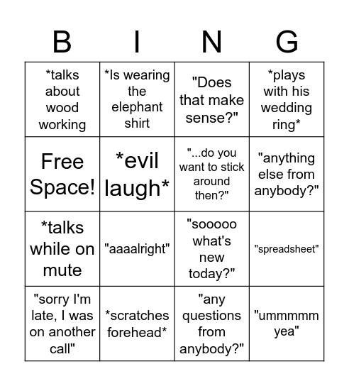 B-RAD-ISMs Bingo Card