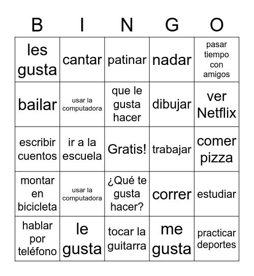 ¿Qué te gusta hacer? Bingo Card