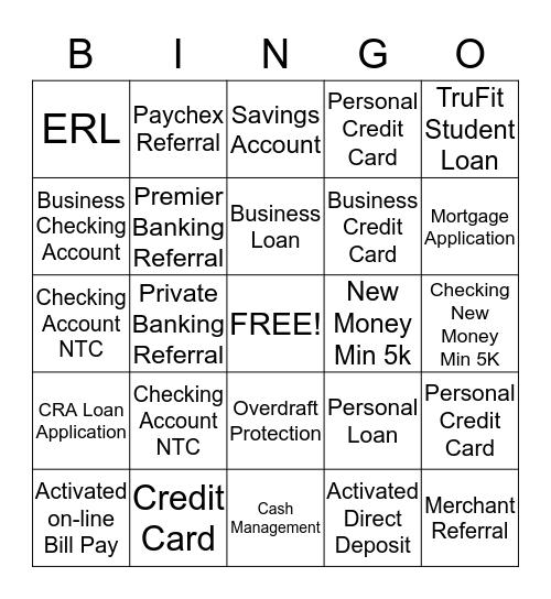 P & L Bingo Card