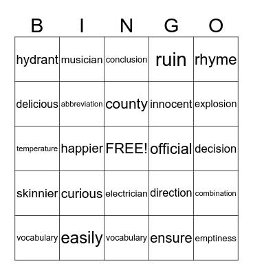 2R Bingo Card