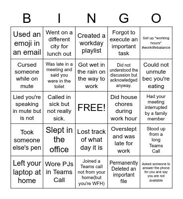 OFFICE Bingo Card