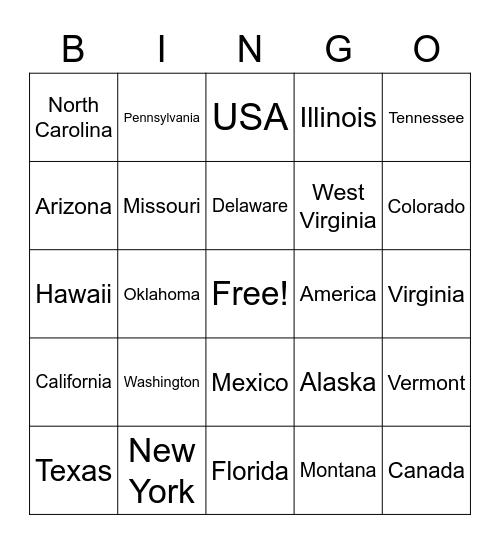 50 States Bingo Card