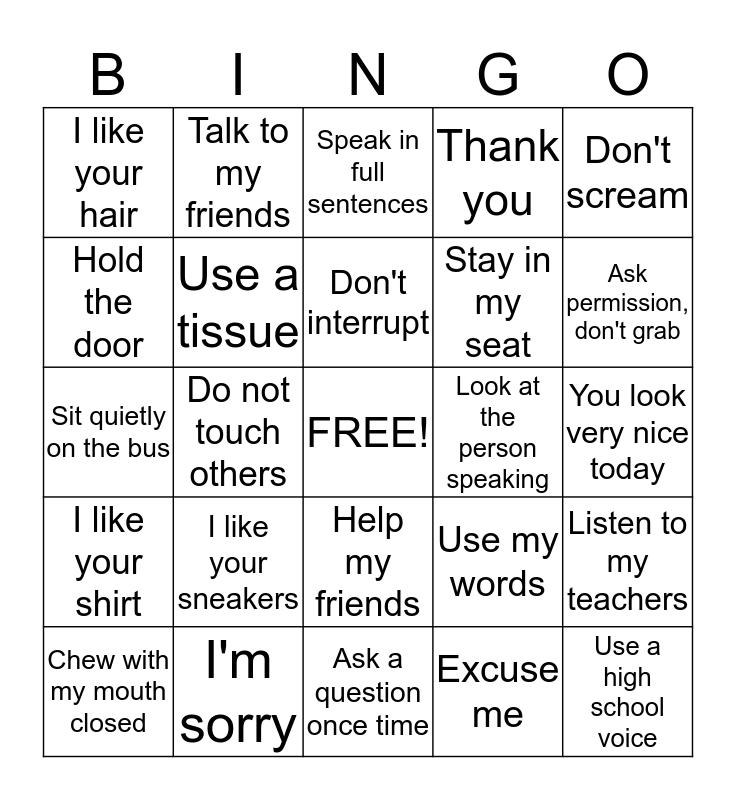 Social Skills Bingo Card