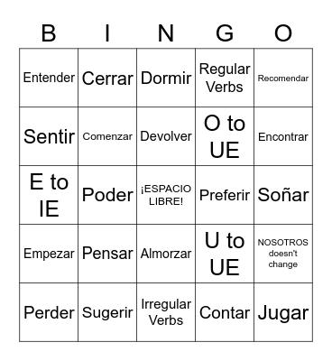 Repaso D - Irregular Verbs Bingo Card